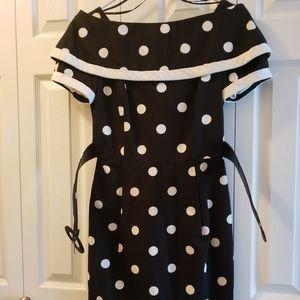Scaasi Black and White Polkadot Dress